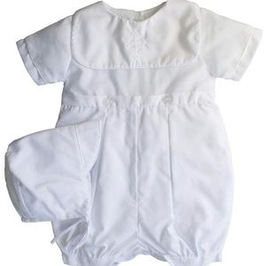 White collared romper with Cross with bonnet